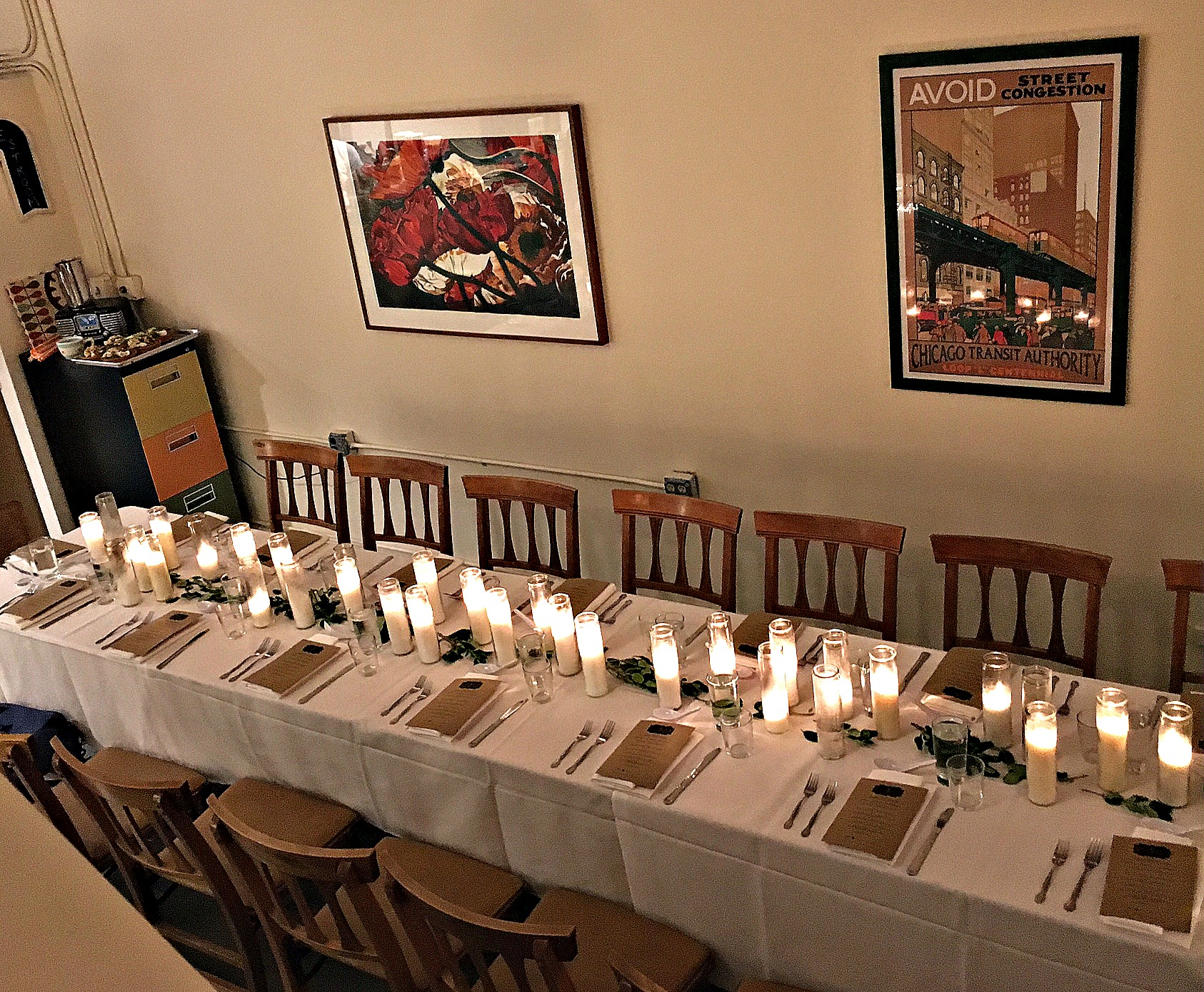 Tables set for a dinner party in The Long Hall at Bespeak Studios