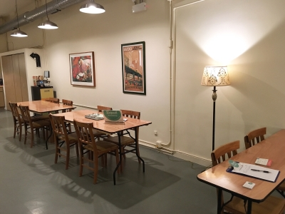 The Long Hall at Bespeak Studios with multiples tables